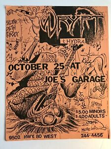 Dallas TX 1980's Hair Band Flyer Joes Garage Graffiti Art Advertisement