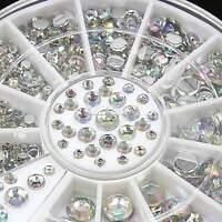 6 Size 300pcs 3D Nail Art Crystal Glitter Gems Rhinestone Tips DIY Wheel EA