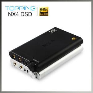 Silver Headphone Amplifier Decoder Topping NX4 DSD XMOS-XU208 DAC ES9038Q2M Chip Portable Headphone Amplifier Decoder