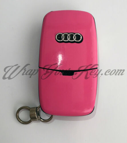 PINK GLOSS Key Wrap Cover Overlay Audi Remote A1 A2 A3 A4 A5 A6 A8 TT