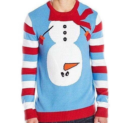 Ugly Christmas Sweater Mens Upside Down Snowman Size Large Ebay