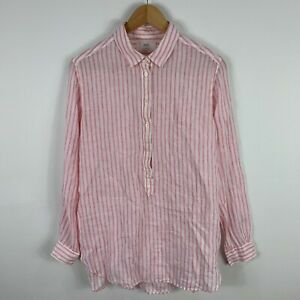 Uniqlo-Womens-Linen-Blouse-Top-Small-Pink-Striped-Long-Sleeve-Collared