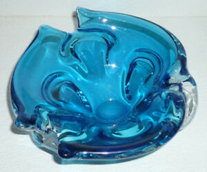 Art-Glass-Cigar-Ashtray-Hand-Blown-Blue-Vintage-8-034