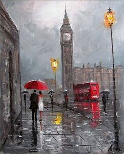 100-HAND-PAINTED-ART-ACRYLIC-KNIFE-OIL-PAINTING-LONDON-CITYSCAPE-16X20INCH