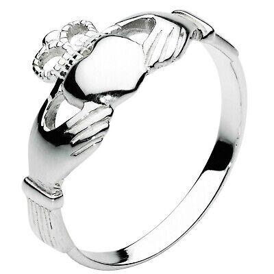 NEW Silver Irish Celtic Claddagh Ring Size P Jewellery