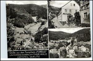 Gruss-aus-Ferienheim-034-FORELLE-034-Unterweissbach-Thueringen-OT-QUELITZ-Postkarte-DDR