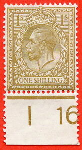 """SG. 395. 1/- Brown. A fine mounted mint """" I16 perf """" control single."""