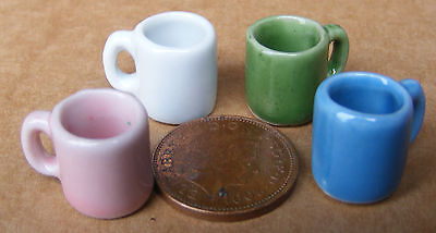 1:12 Scale 4 Different Ceramic Mugs Dolls House Miniature Kitchen Accessories C