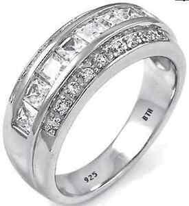 genuine sterling silver created diamonds mens wedding