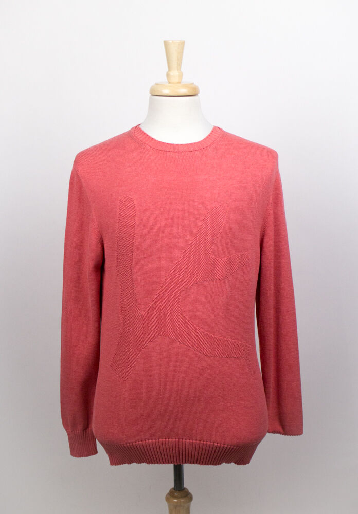 New. ISAIA NAPOLI Amaranth ROT 100% Cotton Pullover Sweater XL 54/44 450