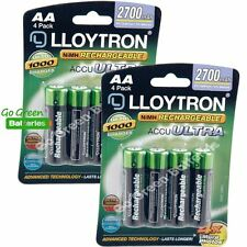 8 x Lloytron AA 2700 mAh Rechargeable Batteries NiMH LR6 HR6 MN1500 2600