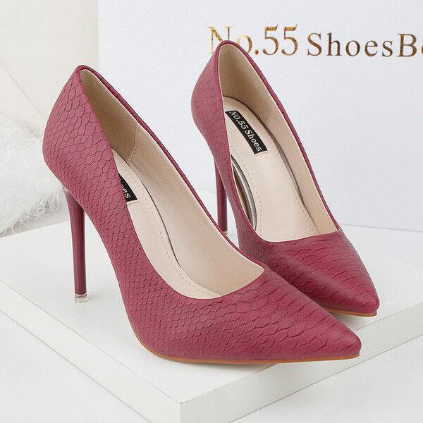 Zapatos de salón mujer 10 10 10 cm elegantes tacón aguja rosadodo magenta como piel 9669  aquí tiene la última