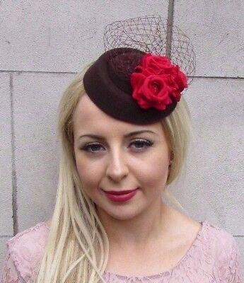 Brown Red Rose Flower Pillbox Hat Fascinator Hair Clip Races Wedding Vtg 4040
