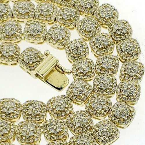 14K Gold Plated Lab Stimulated Diamond Cluster Chain Hip Hop Rapper Jewelry