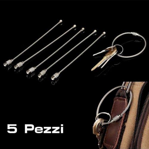 5 PEZZI 5x cavo Portachiavi filo in acciaio ad anello avvitabile Portachiave
