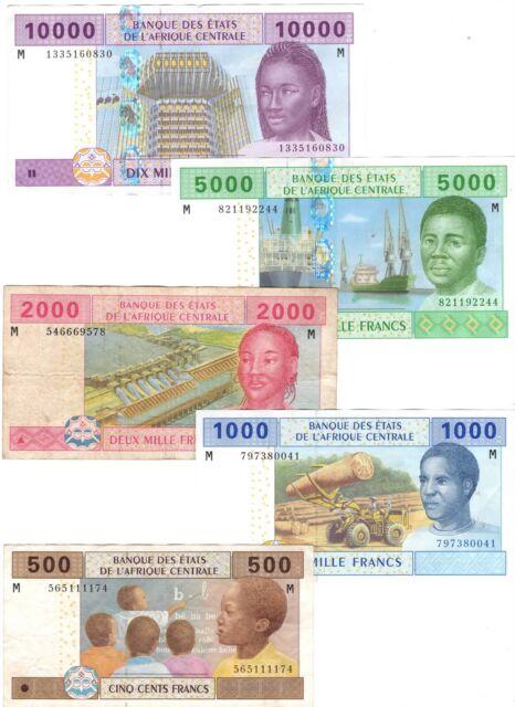 CENTRAL AFRICAN REPUBLIC Set 500 1000 2000 5000 10000 Francs (2002) P-306-310U