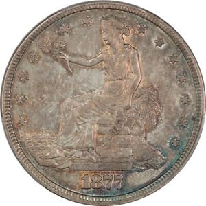 1877 Choice XF+ PCGS XF45+ Trade Dollar - Partial Luster, Cool Colorful Toning!