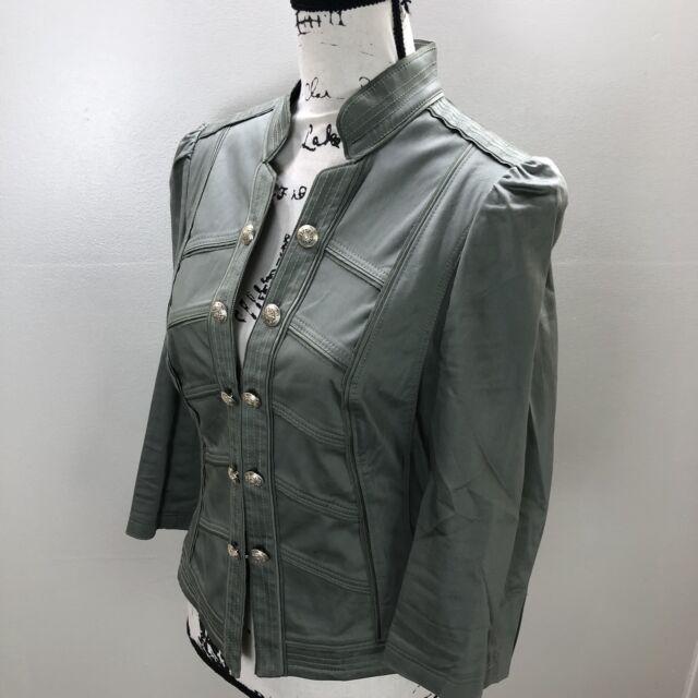 WHITE HOUSE BLACK MARKET Button 3/4 Sleeves Green Stretch Blazer Jacket Womens 8