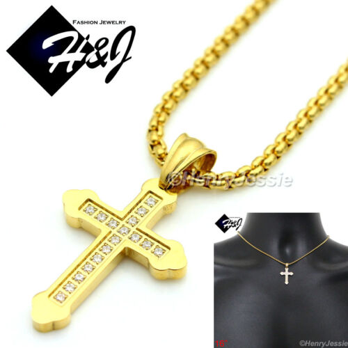 """16/""""WOMEN Stainless Steel 2mm Gold Box Link Necklace Pave CZ Cross Pendant*GP53"""