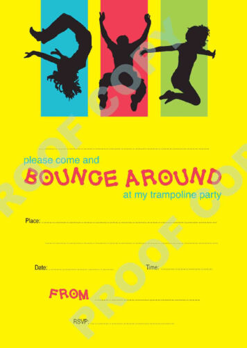 #58 TRAMPOLINE PARTY Pack of 10 kids children birthday party INVITATIONS