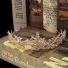 Gold Flower Bridal Crown Rhinestone Tiaras Women Wedding Diadem Hair Accessories