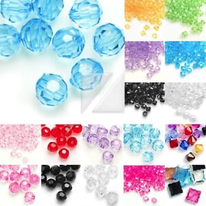 Wholesale-Acrylic-Transparent-Beads-Faceted-Jewelry-Making-Bracelet-4-8-10-12mm