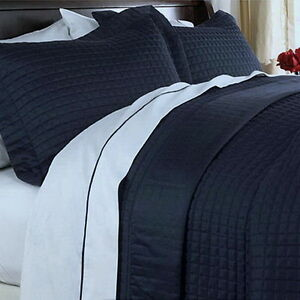 Image Is Loading Hotel MODERN Reversible SOLID Navy Blue Quilt Coverlet