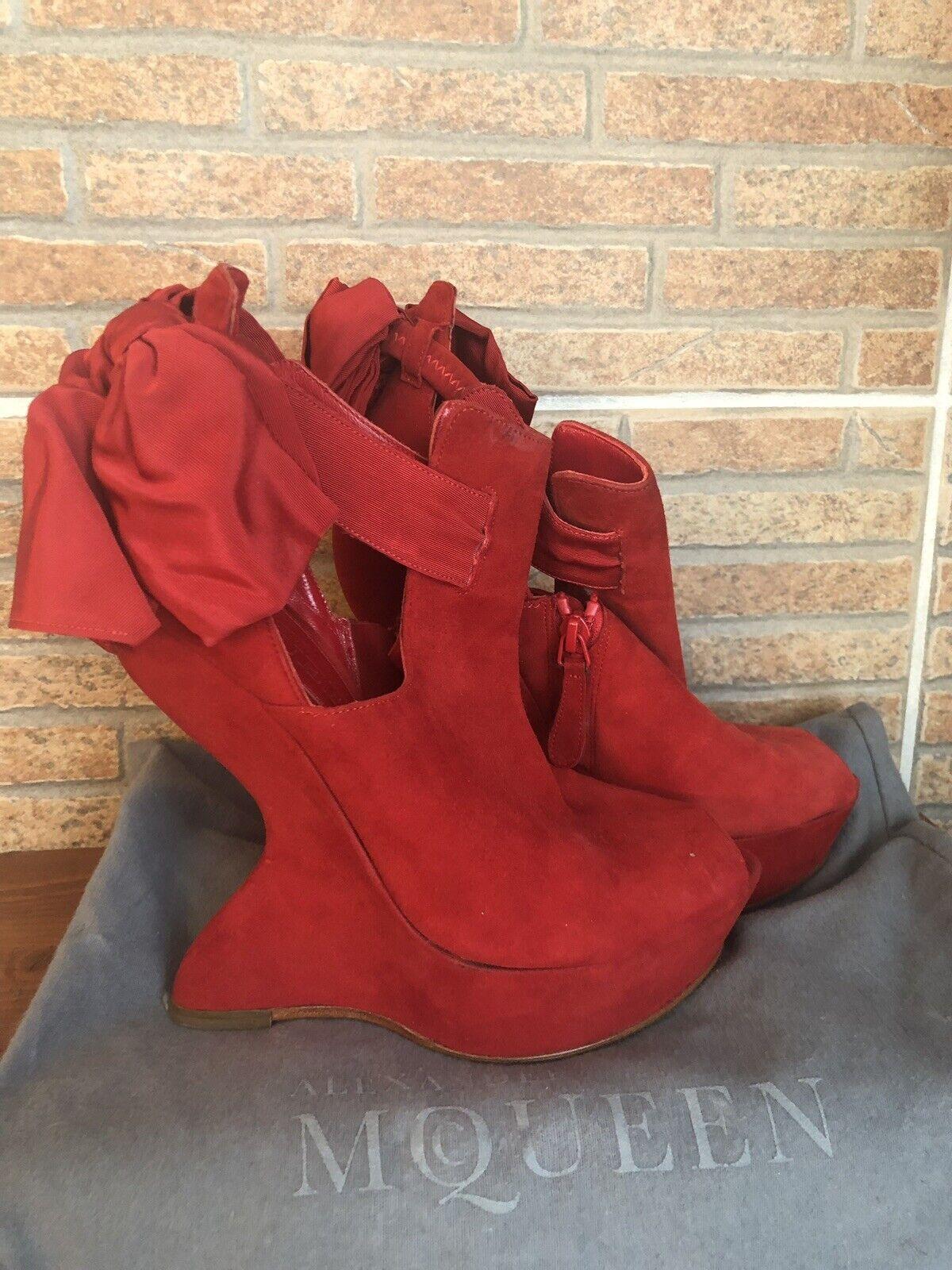 Alexandrer McQueen röd moede -plattform för kvinnor skor klacksandaler 7 -37