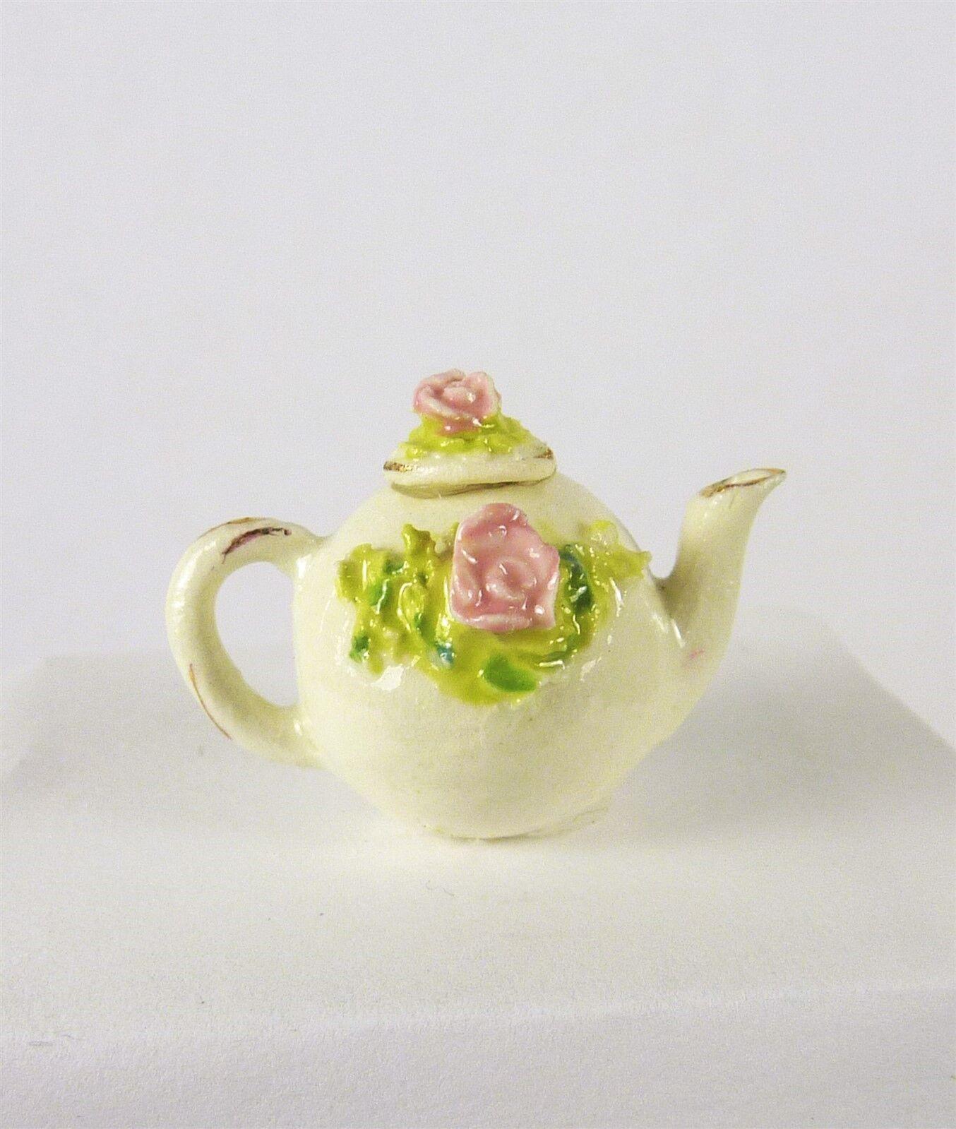 Estate Sale Dollhouse Miniature Veronique Cornish Handmade Porcelain Teapot,  16