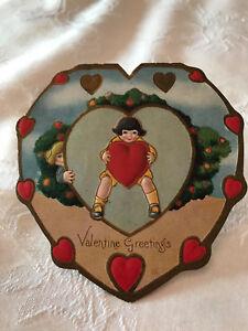 vintage die cut victorian children heart shaped valentine card ebay