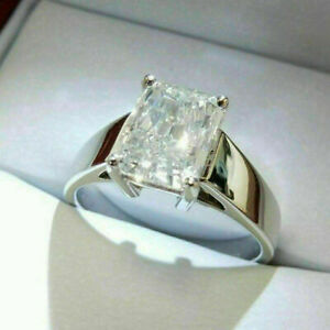 Engagement Ring Wedding Ring 14K White Gold And Sterling Silver Lab Created Diamond Radiant Cut 3.50 Ct. White Diamond Ring 10K