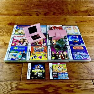 Nintendo-DS-Lite-Bundle-Pink-Console-amp-Case-14-Great-Games-Official-Charger-VGC