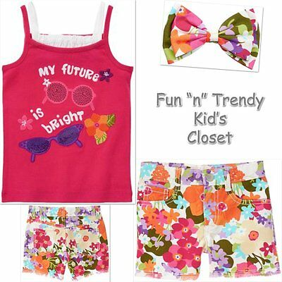 GYMBOREE FLORAL MERMAID WHITE /& PINK FLORAL WOVEN SHORTS 12 18 2T 4T NWT