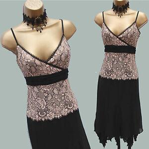 4c422595c2e Details about Size 10 UK KAREN MILLEN Black Cream Floral Lace Handkerchief  Salsa Dress