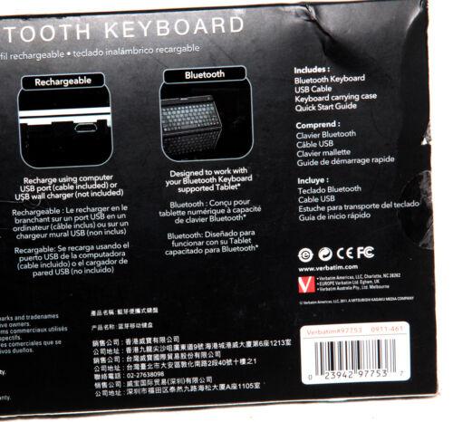Verbatim Ultra Slim Wireless Bluetooth Keyboard 97753 For iPad Android iPhone
