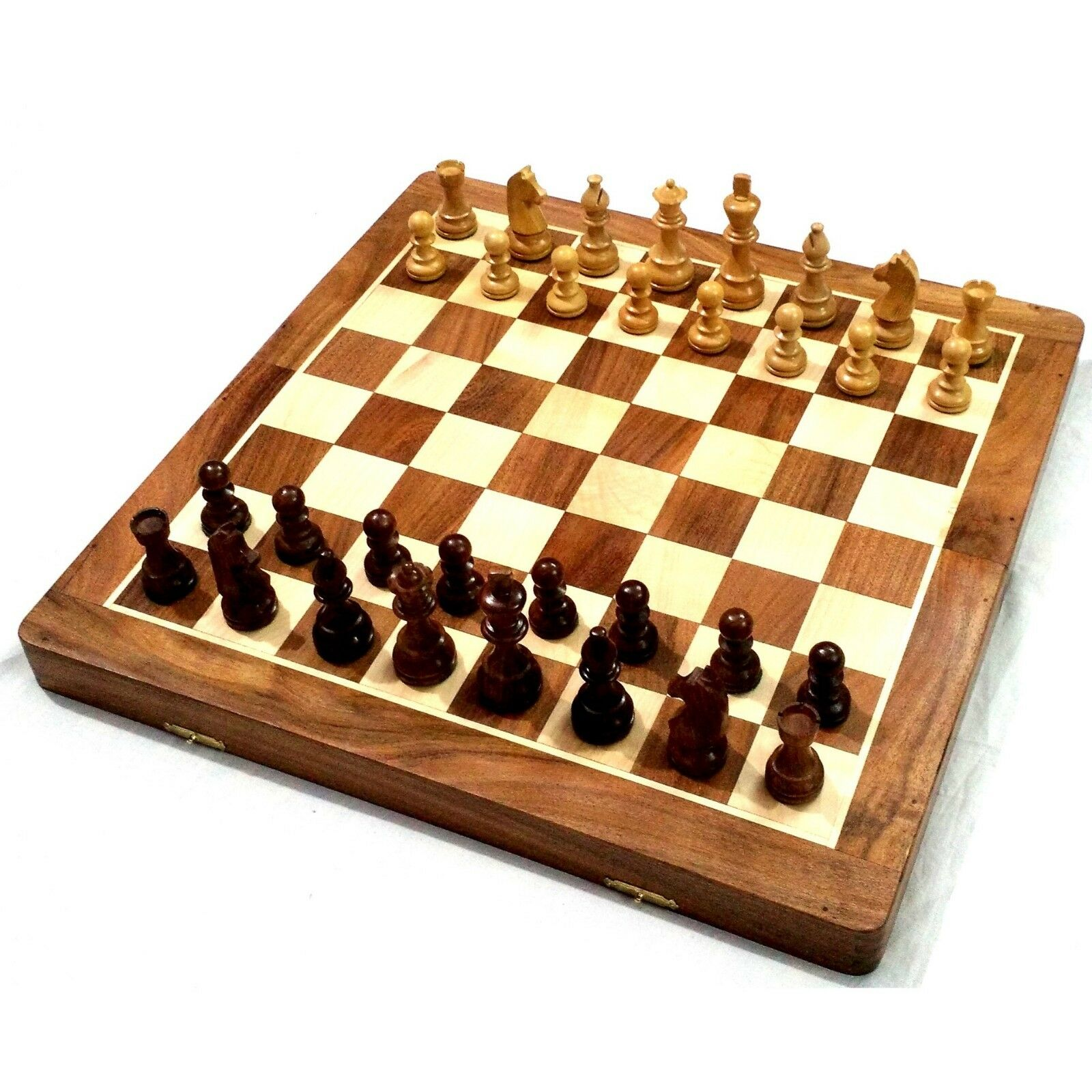 20  Very Large oren Rosewood & Maple Wooden Inlaid Chess Set Board for Travel