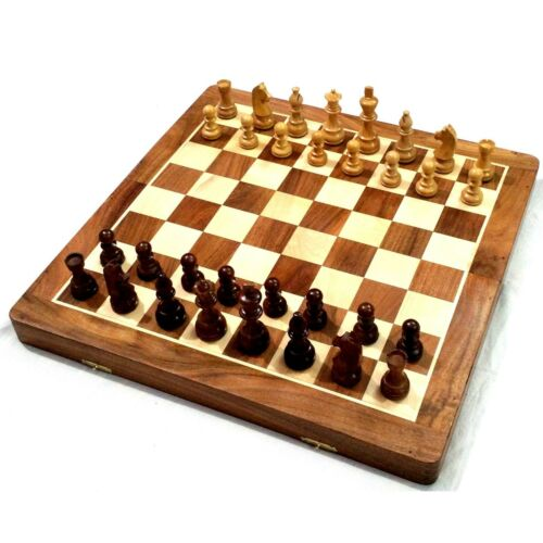 "20"" Very Large Golden Rosewood & Maple Wooden Inlaid Chess Set Board for Travel"