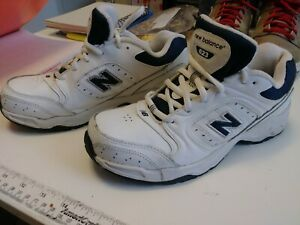 nouveaux styles 20390 92cde Details about NIB Boy's NEW BALANCE 621 White & Navy Cross Training  Athletic Leather Sneakers