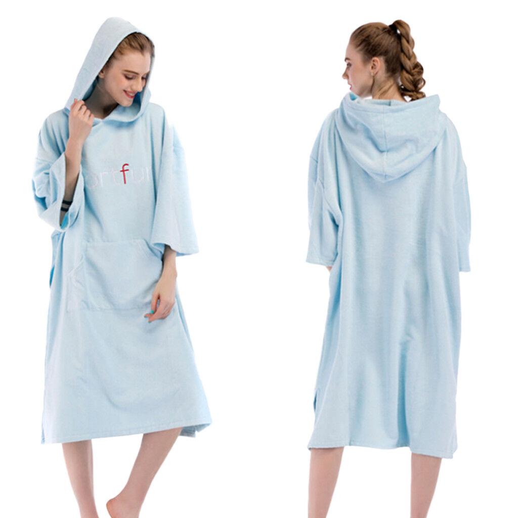 Unisex Changing Robe Poncho Hooded Towel Bathrobe f Surfing Beach Kayak Swim