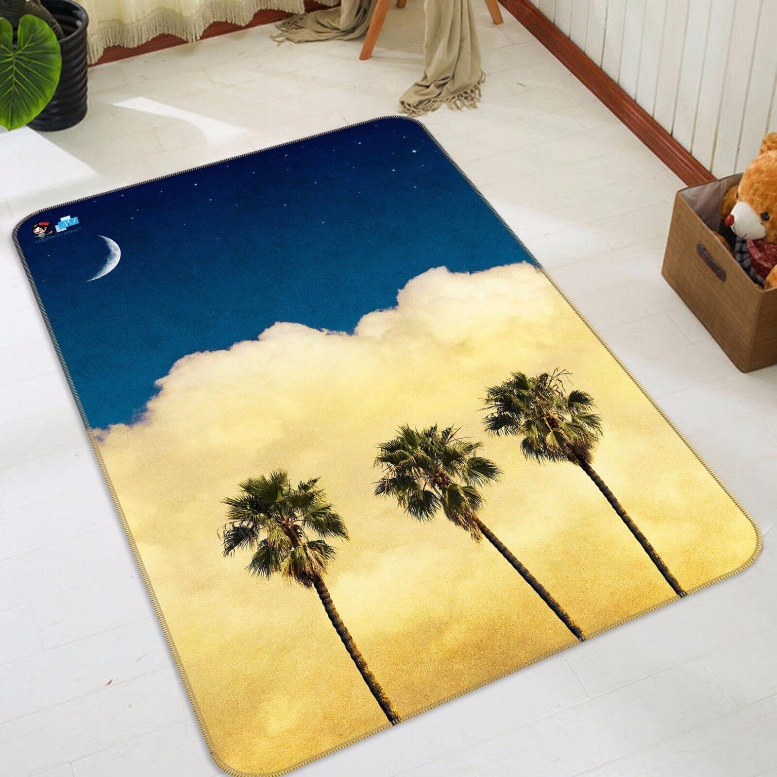3D Plam Tree 48 Non Slip Rug Mat Room Mat Quality Elegant Photo Carpet AU Summer