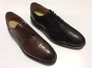 GBX-Men-039-s-Brenner-Croc-Print-Leather-Oxford-Dress-Shoes-Black-amp-Tan-69-99-each
