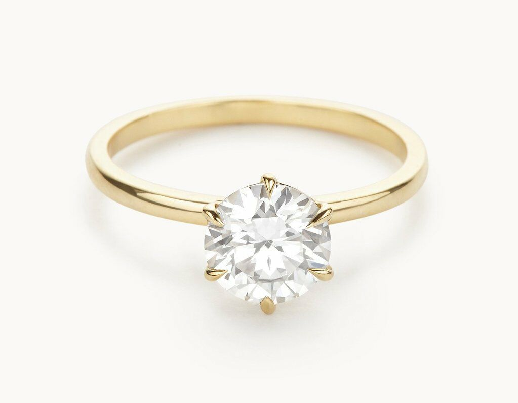 1.00 Ct Round Cut Bridal Diamond Engagement Ring 14K Solid Yellow gold Rings