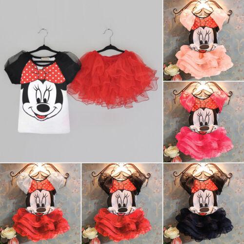 Kids Baby Girls Short Sleeve T Shirts Tops Princess Party Tutu Dress Outfits Set