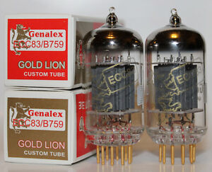 Matched-Pair-Genalex-GOLD-LION-12ax7-ecc83-b759-Roehren-Brandneu-in-Box