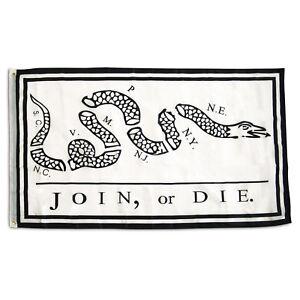Join or Die Flag Revolutionary War Banner Benjamin Franklin Snake Pennant 3x5 FT