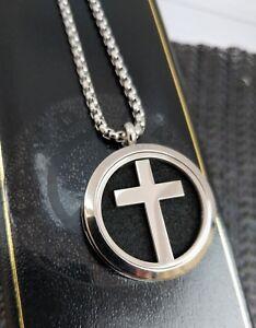 """Mens Silver Steel Cross Locket Necklace Personalised Memorial Gift 18"""" - 30"""" UK"""