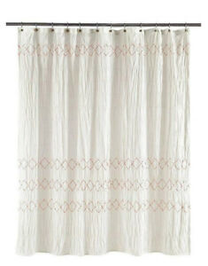 Image Is Loading Shabby Chic Smocked Zigzag Fabric Shower Curtain White