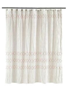 Image Is Loading Shabby Chic Smocked Zigzag Fabric Shower Curtain White