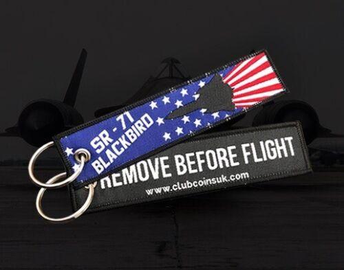 SR-71 Blackbird REMOVE BEFORE FLIGHT Key Chain Ring Aviation