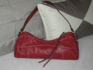Joan-Weisz-leather-terracotta-tan-red-handbag-shoulder-bag-Perfect-cond